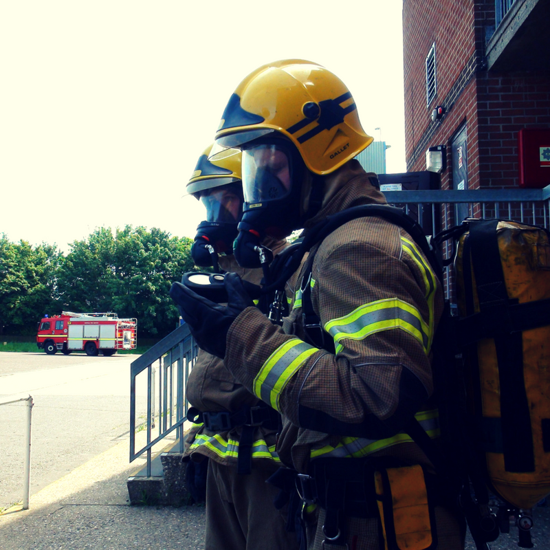 Delegates on the Breathing Apparatus training course at Norwich Norfolk. Wearing Breathing Apparatus and taking part in emergency response team/fire team training.