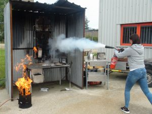 Fire Marshal live fire extinguisher training at Norwich